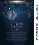 night sky background with cute... | Shutterstock .eps vector #687234016