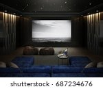home theater room   luxury... | Shutterstock . vector #687234676