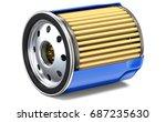 blue oil filter half cut. 3d... | Shutterstock . vector #687235630