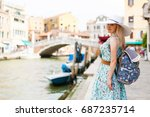travel tourist woman with... | Shutterstock . vector #687235714