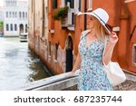travel tourist woman with... | Shutterstock . vector #687235744
