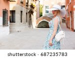 travel tourist woman with... | Shutterstock . vector #687235783