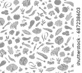 hand drawn vegetables vector... | Shutterstock .eps vector #687238603