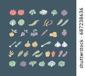 vegetable hand drawn icon set...   Shutterstock .eps vector #687238636