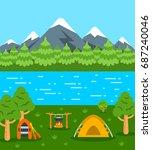 summer camping background. flat ...   Shutterstock . vector #687240046