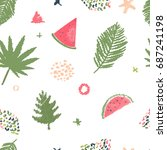 green tropic leaf pattern with... | Shutterstock .eps vector #687241198