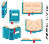 book icons set. vector color... | Shutterstock .eps vector #687241564