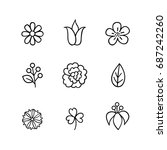 floral icon set. flowers  berry ... | Shutterstock .eps vector #687242260