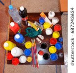 bottle painting and pallet... | Shutterstock . vector #687243634