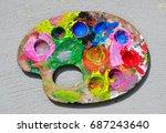 pallet paint colorful... | Shutterstock . vector #687243640