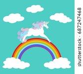 unicorn on rainbow on the blue...   Shutterstock . vector #687247468