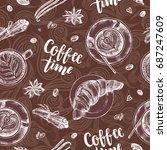 decorative seamless pattern... | Shutterstock .eps vector #687247609
