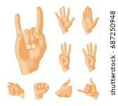 hands deaf mute different... | Shutterstock .eps vector #687250948
