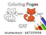 cartoon cat illustration.... | Shutterstock .eps vector #687255958