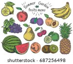 fruits menu  summer garden ... | Shutterstock .eps vector #687256498