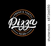 pizza hand written lettering...   Shutterstock . vector #687266050