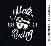 retro racer helmet and...   Shutterstock . vector #687268090