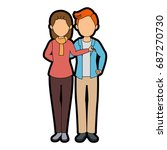 isolated mother and son | Shutterstock .eps vector #687270730