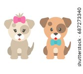 cartoon dog girl and boy | Shutterstock .eps vector #687273340
