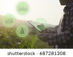 hand holding tablet connected... | Shutterstock . vector #687281308