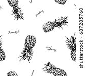 pineapple vector background.... | Shutterstock .eps vector #687285760