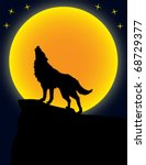 wolf and moon   vector | Shutterstock .eps vector #68729377
