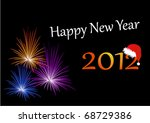 new year card with fireworks  ... | Shutterstock .eps vector #68729386