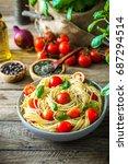 italian cuisine. pasta with... | Shutterstock . vector #687294514