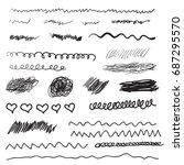 scribble brush strokes set ... | Shutterstock .eps vector #687295570