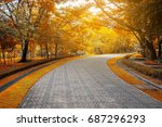 Brick Road In The Park  Along...
