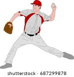 baseball pitcher detailed... | Shutterstock .eps vector #687299878