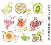exotic fruit set. vector...   Shutterstock .eps vector #687301798