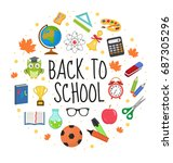 back to school icon set in... | Shutterstock .eps vector #687305296