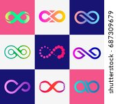 vector infinity icons with... | Shutterstock .eps vector #687309679