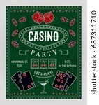 casino party invitation with... | Shutterstock .eps vector #687311710