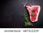 raw marbled meat steak with... | Shutterstock . vector #687312229