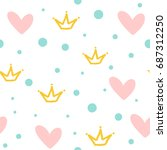 repeated crowns  hearts and... | Shutterstock .eps vector #687312250