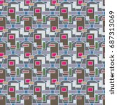 abstract color seamless pattern ... | Shutterstock . vector #687313069