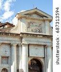 porta san giacomo. arch to the... | Shutterstock . vector #687313594