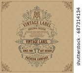 old vintage card with floral...   Shutterstock .eps vector #687314134