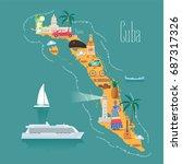 map of cuba vector illustration ... | Shutterstock .eps vector #687317326