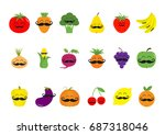 fruit berry vegetable mustache... | Shutterstock . vector #687318046