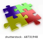 four puzzle pieces of various...   Shutterstock . vector #68731948