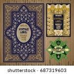 vector vintage items  label art ... | Shutterstock .eps vector #687319603