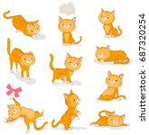 cute cat in various poses.... | Shutterstock .eps vector #687320254