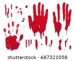 set of blood for halloween... | Shutterstock .eps vector #687321058