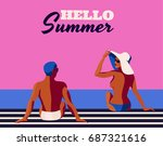 a vector retro poster with a... | Shutterstock .eps vector #687321616