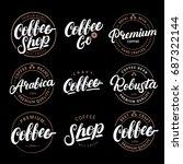 set of coffee hand written... | Shutterstock . vector #687322144