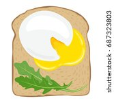 poached egg toast. delicious... | Shutterstock .eps vector #687323803