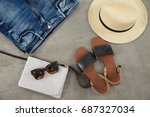men' shoes  sunglasses  hat ... | Shutterstock . vector #687327034